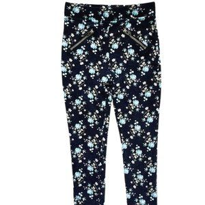 Black Floral Print Pocket Zip Jeggings